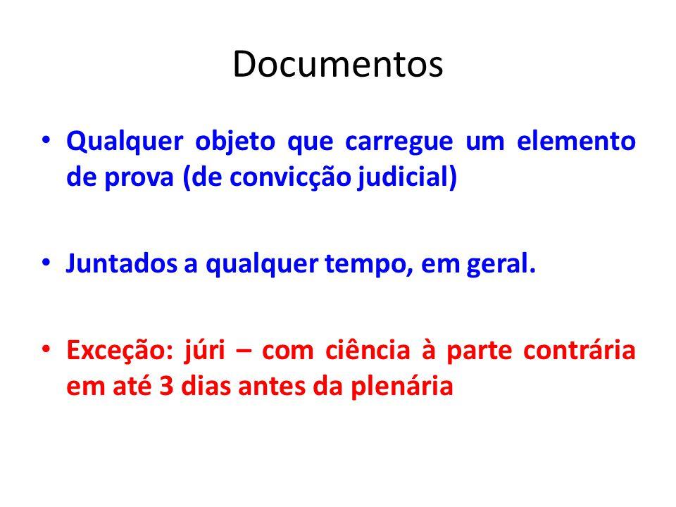 Documentos Qualquer objeto que carregue um elemento de prova (de convicção judicial) Juntados a qualquer tempo, em geral. Exceção: júri – com ciência