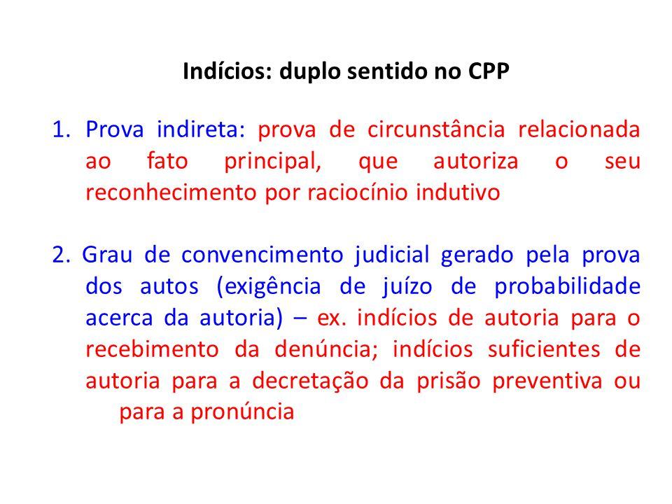 Indícios: duplo sentido no CPP 1.Prova indireta: prova de circunstância relacionada ao fato principal, que autoriza o seu reconhecimento por raciocínio indutivo 2.