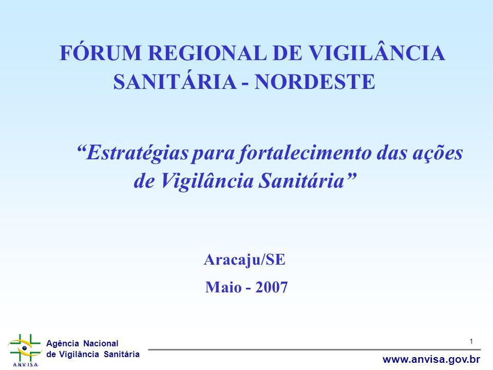 Agência Nacional de Vigilância Sanitária www.anvisa.gov.br 1 FÓRUM REGIONAL DE VIGILÂNCIA SANITÁRIA - NORDESTE Estratégias para fortalecimento das açõ