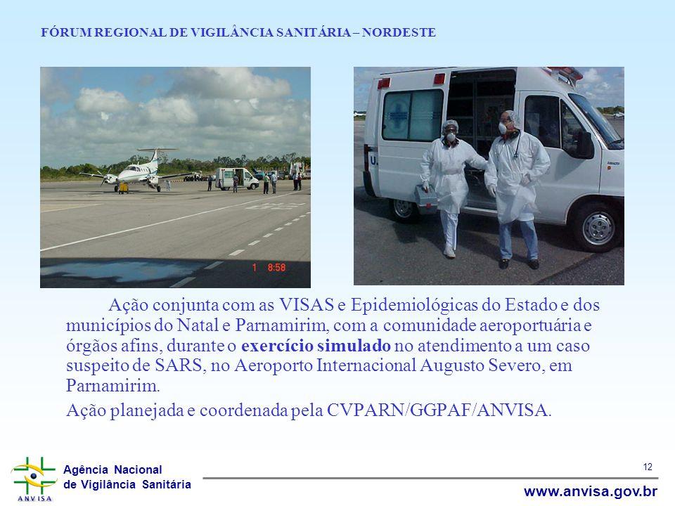 Agência Nacional de Vigilância Sanitária www.anvisa.gov.br 12 FÓRUM REGIONAL DE VIGILÂNCIA SANITÁRIA – NORDESTE Ação conjunta com as VISAS e Epidemiol