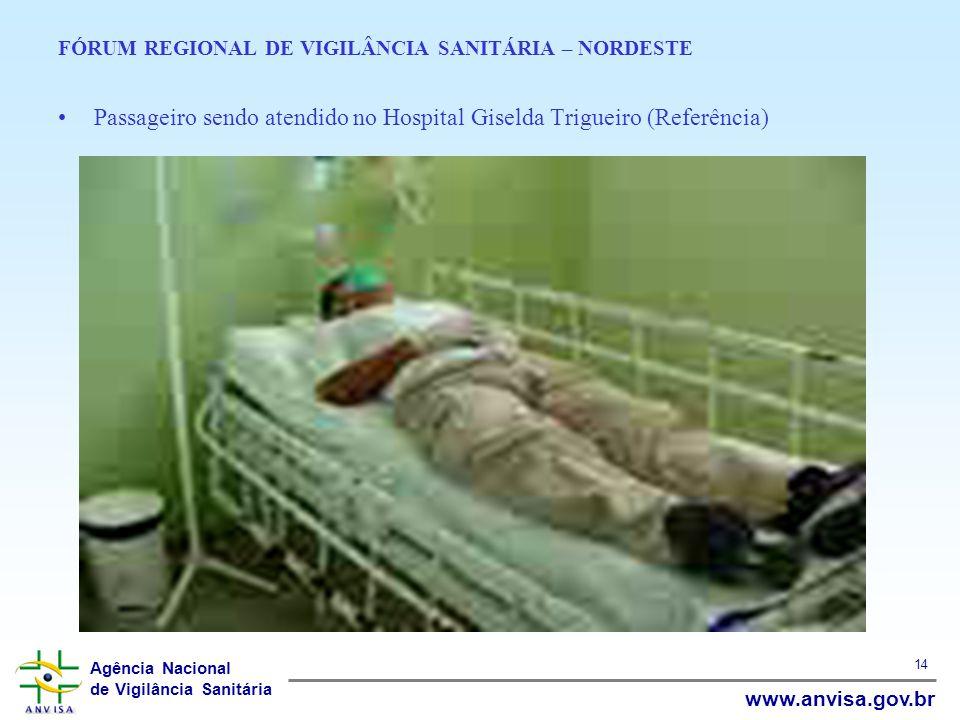 Agência Nacional de Vigilância Sanitária www.anvisa.gov.br 14 FÓRUM REGIONAL DE VIGILÂNCIA SANITÁRIA – NORDESTE Passageiro sendo atendido no Hospital