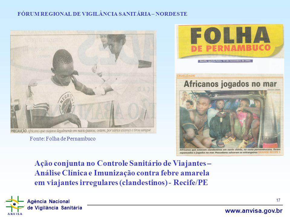 Agência Nacional de Vigilância Sanitária www.anvisa.gov.br 17 FÓRUM REGIONAL DE VIGILÂNCIA SANITÁRIA – NORDESTE Ação conjunta no Controle Sanitário de