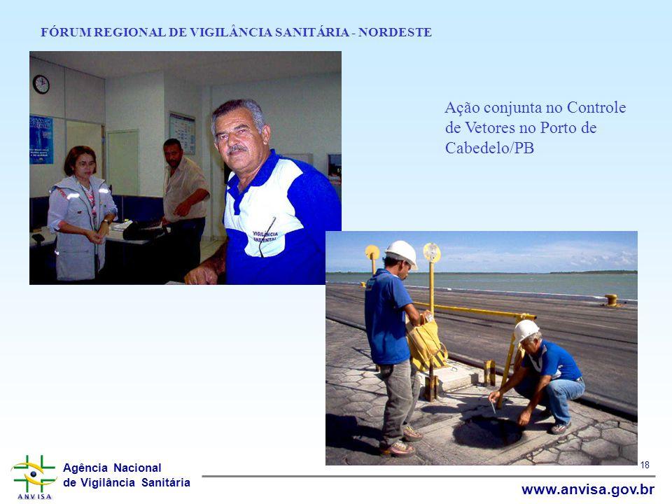 Agência Nacional de Vigilância Sanitária www.anvisa.gov.br 18 FÓRUM REGIONAL DE VIGILÂNCIA SANITÁRIA - NORDESTE Ação conjunta no Controle de Vetores n