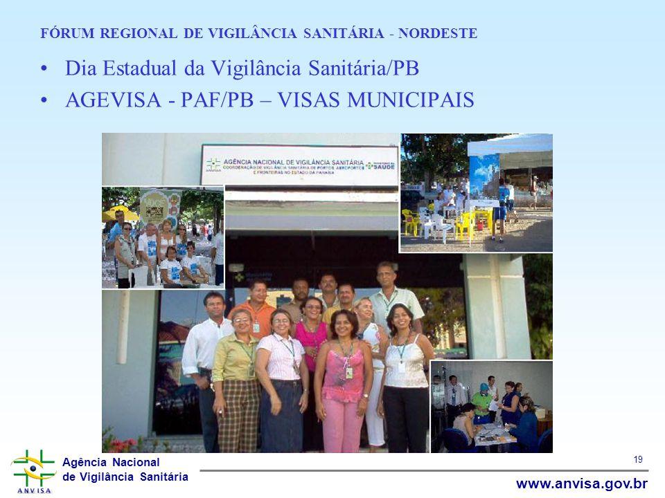Agência Nacional de Vigilância Sanitária www.anvisa.gov.br 19 FÓRUM REGIONAL DE VIGILÂNCIA SANITÁRIA - NORDESTE Dia Estadual da Vigilância Sanitária/P