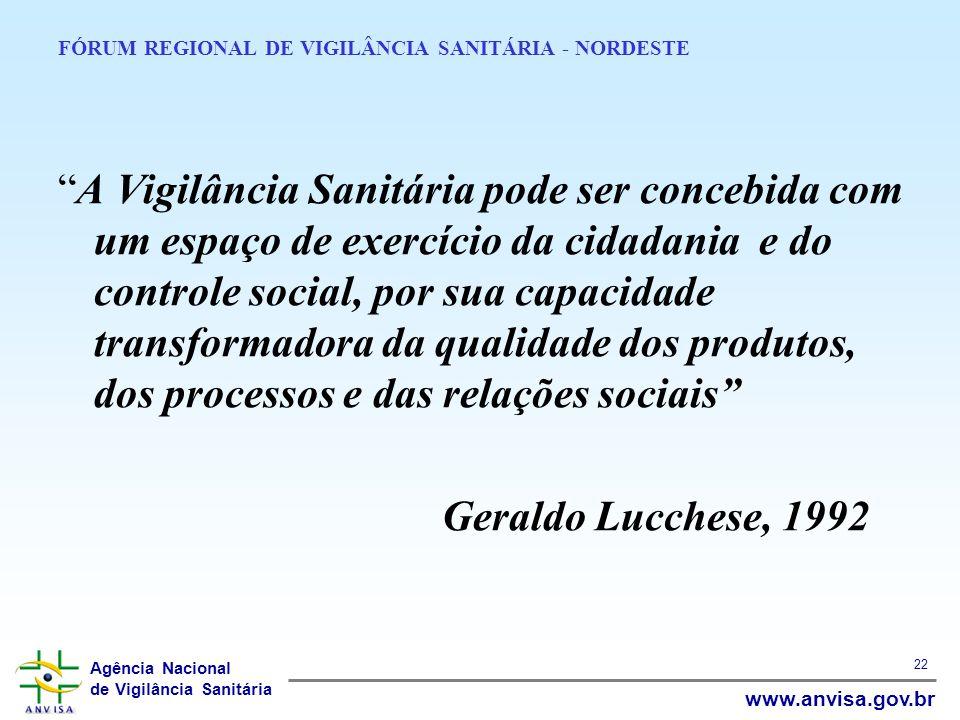 Agência Nacional de Vigilância Sanitária www.anvisa.gov.br 22 FÓRUM REGIONAL DE VIGILÂNCIA SANITÁRIA - NORDESTE A Vigilância Sanitária pode ser conceb