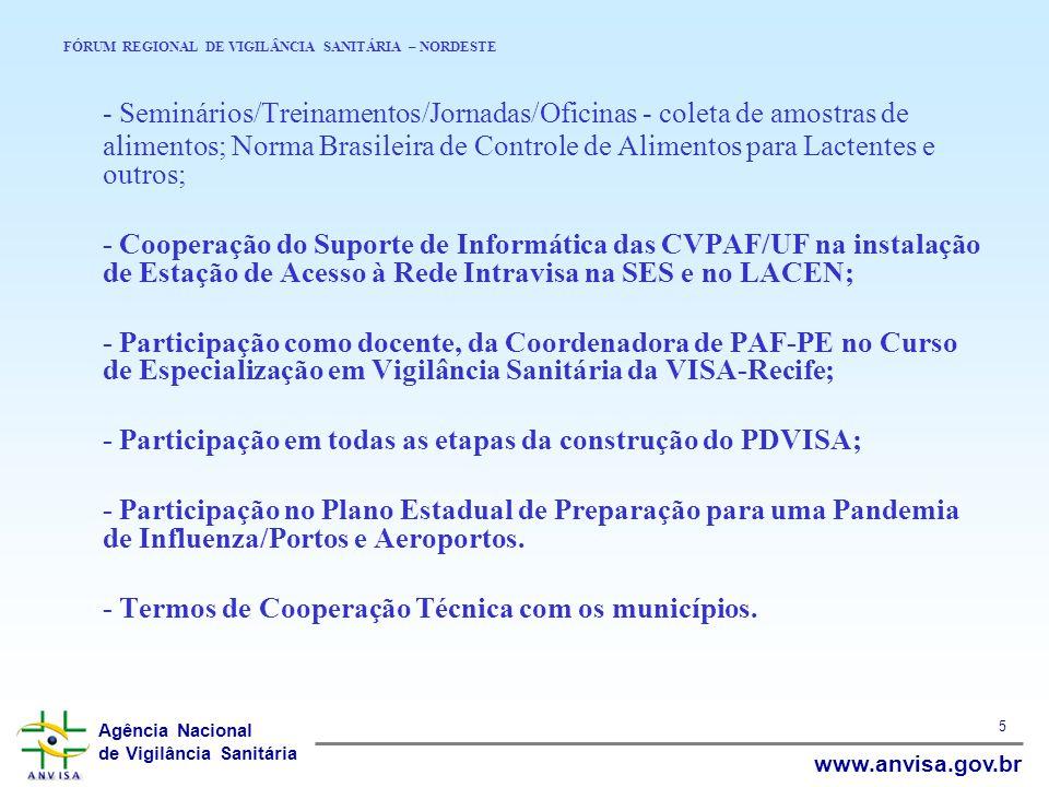 Agência Nacional de Vigilância Sanitária www.anvisa.gov.br 5 FÓRUM REGIONAL DE VIGILÂNCIA SANITÁRIA – NORDESTE - Seminários/Treinamentos/Jornadas/Ofic