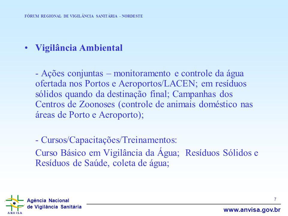 Agência Nacional de Vigilância Sanitária www.anvisa.gov.br 7 FÓRUM REGIONAL DE VIGILÂNCIA SANITÁRIA - NORDESTE Vigilância Ambiental - Ações conjuntas