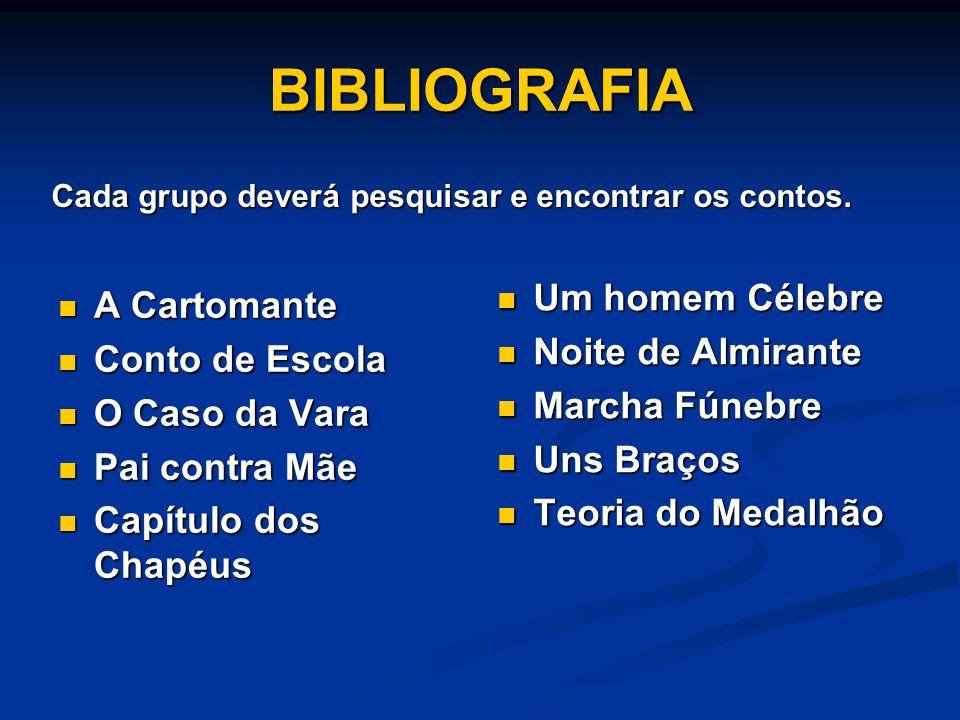 BIBLIOGRAFIA A Cartomante A Cartomante Conto de Escola Conto de Escola O Caso da Vara O Caso da Vara Pai contra Mãe Pai contra Mãe Capítulo dos Chapéu