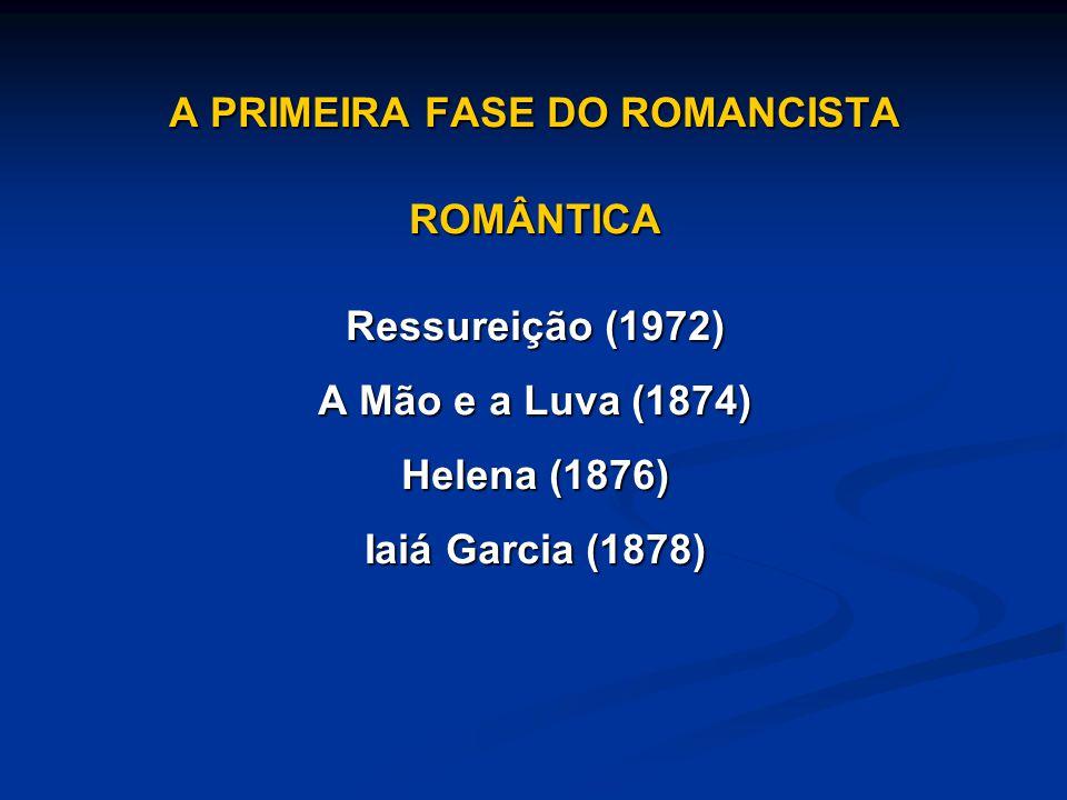 A PRIMEIRA FASE DO ROMANCISTA ROMÂNTICA Ressureição (1972) A Mão e a Luva (1874) Helena (1876) Iaiá Garcia (1878)