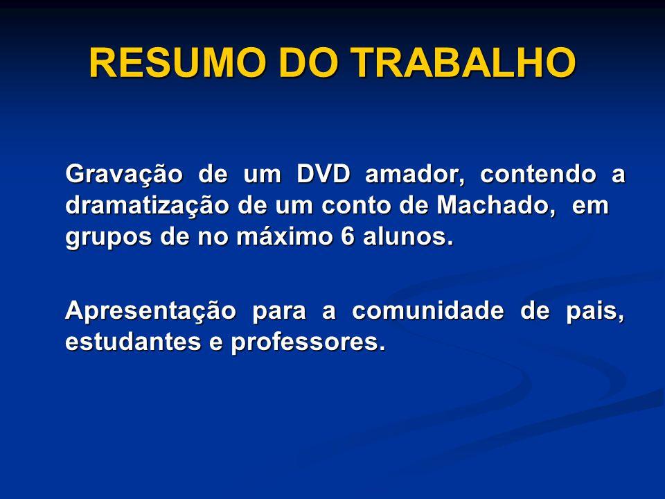 RESUMO DO TRABALHO Gravação de um DVD amador, contendo a dramatização de um conto de Machado, em grupos de no máximo 6 alunos. Apresentação para a com