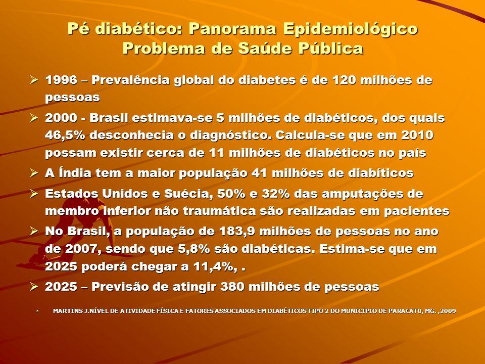 PREVENÇÃO E CONDUTAS NO TRATAMENTO DO PÉ DIABÉTICO Diabetes Mellitus: pé diabético Diabetes Mellitus: pé diabético É um dos mais importantes problemas