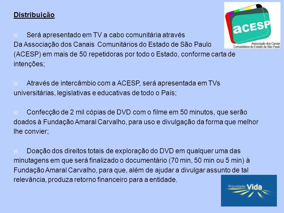 Distribuição Será apresentado em TV a cabo comunitária através Da Associação dos Canais Comunitários do Estado de São Paulo (ACESP) em mais de 50 repetidoras por todo o Estado, conforme carta de intenções; Através de intercâmbio com a ACESP, será apresentada em TVs universitárias, legislativas e educativas de todo o País; Confecção de 2 mil cópias de DVD com o filme em 50 minutos, que serão doados à Fundação Amaral Carvalho, para uso e divulgação da forma que melhor lhe convier; Doação dos direitos totais de exploração do DVD em qualquer uma das minutagens em que será finalizado o documentário (70 min, 50 min ou 5 min) à Fundação Amaral Carvalho, para que, além de ajudar a divulgar assunto de tal relevância, produza retorno financeiro para a entidade.