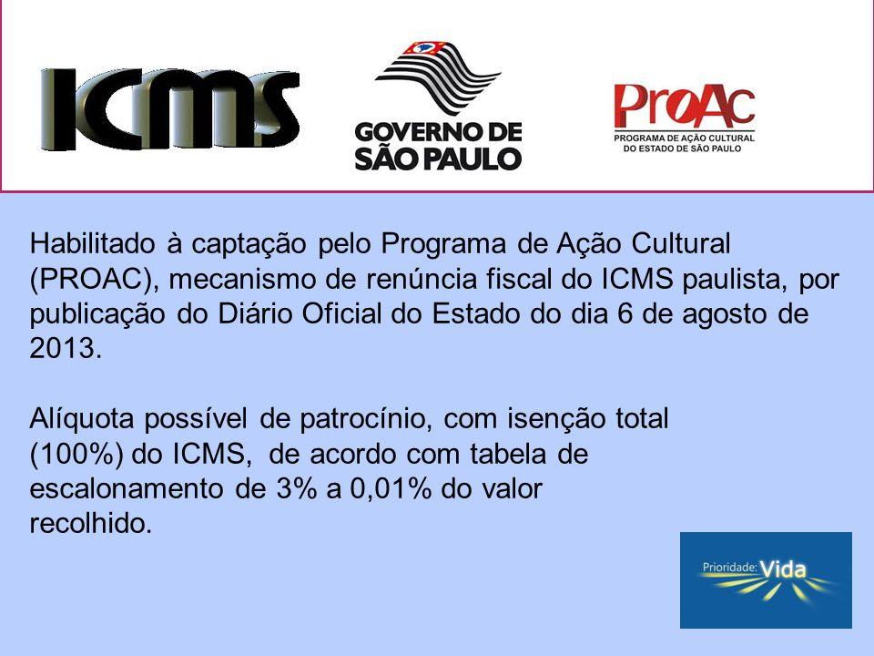Habilitado à captação pelo Programa de Ação Cultural (PROAC), mecanismo de renúncia fiscal do ICMS paulista, por publicação do Diário Oficial do Estado do dia 6 de agosto de 2013.