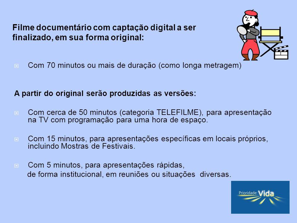 Com 70 minutos ou mais de duração (como longa metragem) A partir do original serão produzidas as versões: Com cerca de 50 minutos (categoria TELEFILME), para apresentação na TV com programação para uma hora de espaço.
