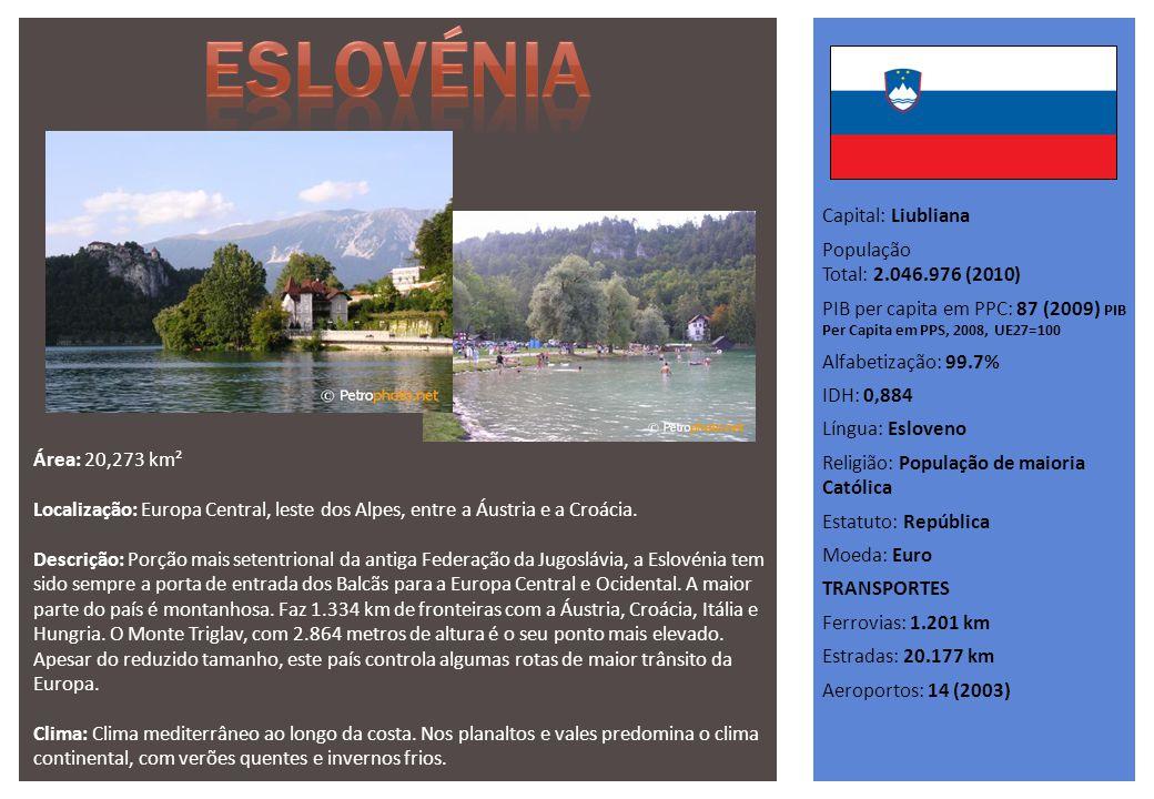Capital: Liubliana População Total: 2.046.976 (2010) PIB per capita em PPC: 87 (2009) PIB Per Capita em PPS, 2008, UE27=100 Alfabetização: 99.7% IDH: 0,884 Língua: Esloveno Religião: População de maioria Católica Estatuto: República Moeda: Euro TRANSPORTES Ferrovias: 1.201 km Estradas: 20.177 km Aeroportos: 14 (2003) Área: 20,273 km² Localização: Europa Central, leste dos Alpes, entre a Áustria e a Croácia.