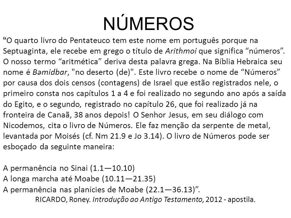 NÚMEROS O quarto livro do Pentateuco tem este nome em português porque na Septuaginta, ele recebe em grego o título de Arithmoi que significa números.