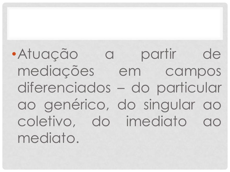 Atuação a partir de mediações em campos diferenciados – do particular ao genérico, do singular ao coletivo, do imediato ao mediato.