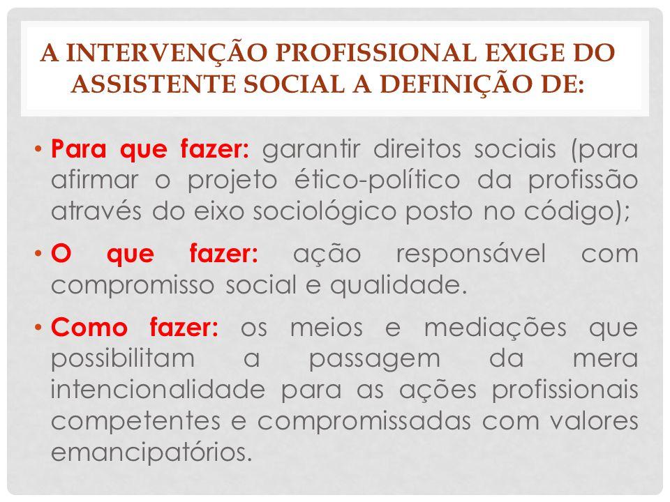 A INTERVENÇÃO PROFISSIONAL EXIGE DO ASSISTENTE SOCIAL A DEFINIÇÃO DE: Para que fazer: garantir direitos sociais (para afirmar o projeto ético-político