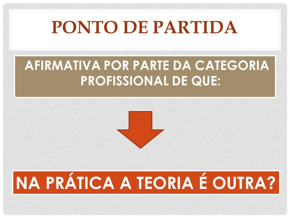 PONTO DE PARTIDA AFIRMATIVA POR PARTE DA CATEGORIA PROFISSIONAL DE QUE: NA PRÁTICA A TEORIA É OUTRA?