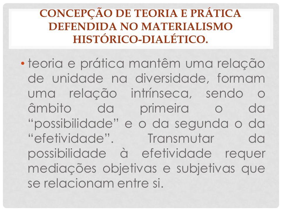 CONCEPÇÃO DE TEORIA E PRÁTICA DEFENDIDA NO MATERIALISMO HISTÓRICO-DIALÉTICO. teoria e prática mantêm uma relação de unidade na diversidade, formam uma