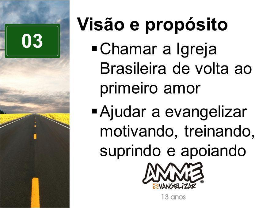 03 Visão e propósito Chamar a Igreja Brasileira de volta ao primeiro amor Ajudar a evangelizar motivando, treinando, suprindo e apoiando