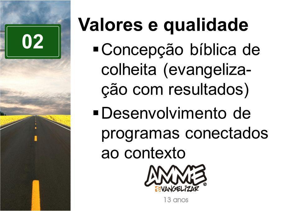 02 Valores e qualidade Concepção bíblica de colheita (evangeliza- ção com resultados) Desenvolvimento de programas conectados ao contexto