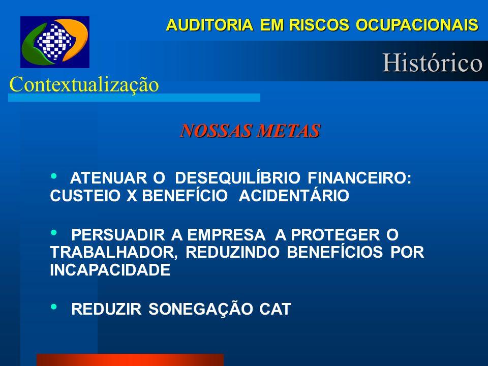 AUDITORIA EM RISCOS OCUPACIONAIS Histórico Contextualização 5,5 % dos Vínculos Empregatícios 1999 3,5 % dos Vínculos Empregatícios 2002 50 % REDUÇÃO (