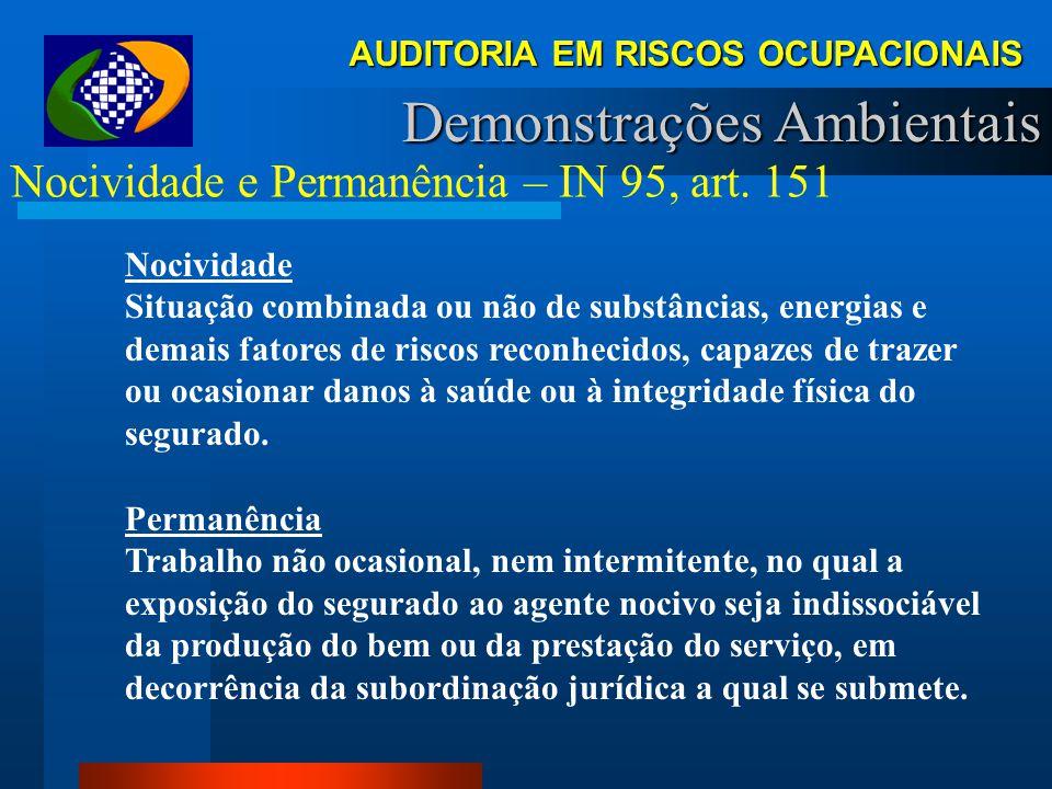 AUDITORIA EM RISCOS OCUPACIONAIS Demonstrações Ambientais Permanência Art. 57. Lei 8.213/91. A aposentadoria especial será devida, uma vez cumprida a