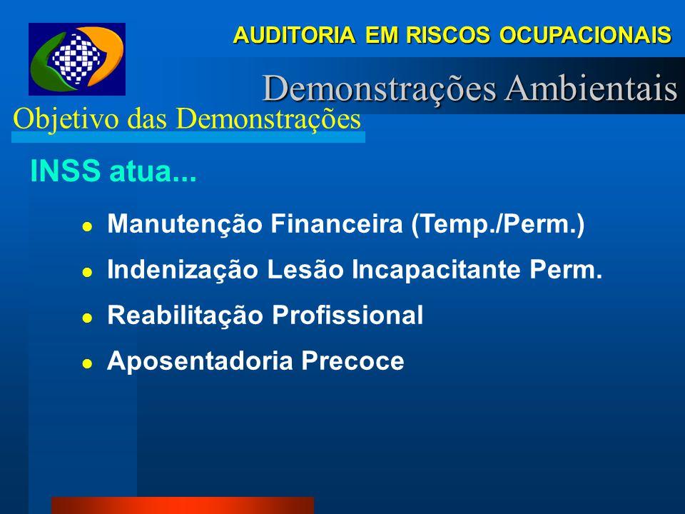 AUDITORIA EM RISCOS OCUPACIONAIS Demonstrações Ambientais Nocividade e Permanência – IN 95, art. 151 Permanência Trabalho não ocasional, nem intermite
