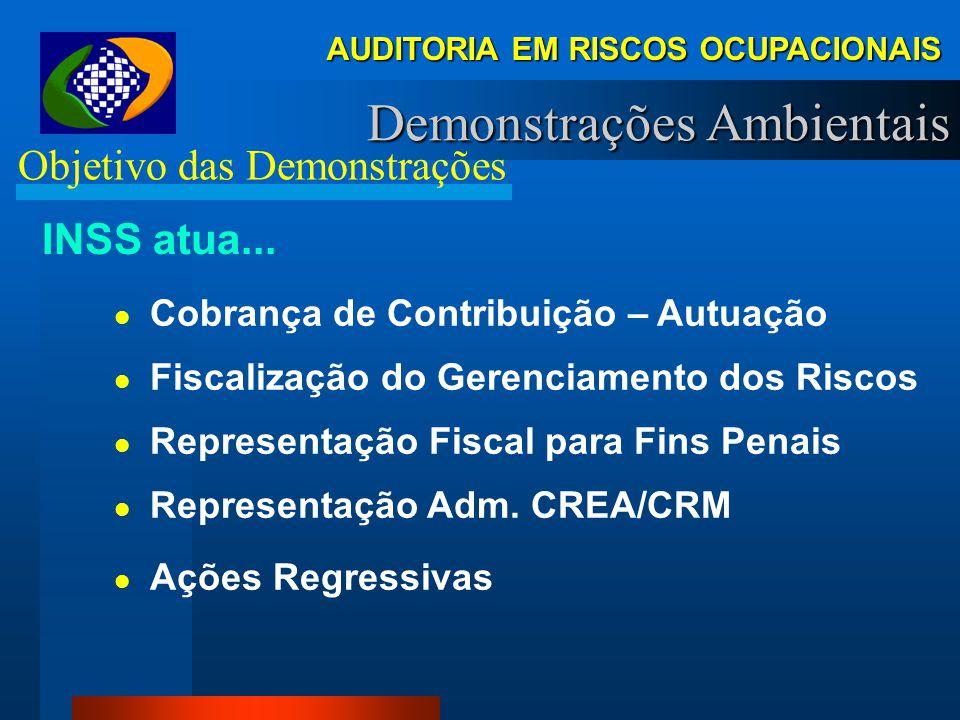 AUDITORIA EM RISCOS OCUPACIONAIS Demonstrações Ambientais Objetivo das Demonstrações INSS atua... Manutenção Financeira (Temp./Perm.) Indenização Lesã