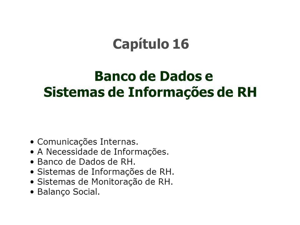 Capítulo 16 Banco de Dados e Sistemas de Informações de RH Comunicações Internas. A Necessidade de Informações. Banco de Dados de RH. Sistemas de Info