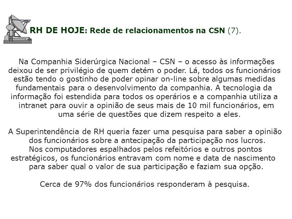 RH DE HOJE : Rede de relacionamentos na CSN (7). Na Companhia Siderúrgica Nacional – CSN – o acesso às informações deixou de ser privilégio de quem de