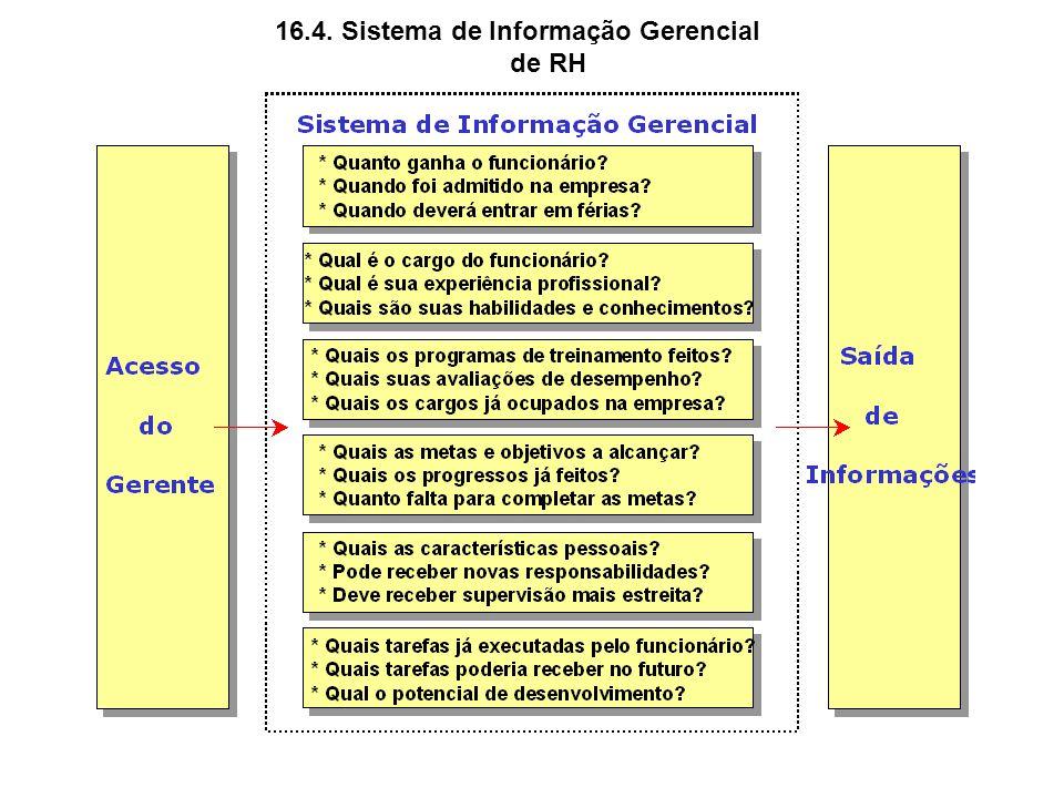 16.4. Sistema de Informação Gerencial de RH