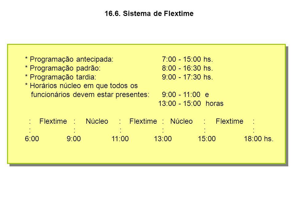 16.6. Sistema de Flextime * Programação antecipada: 7:00 - 15:00 hs. * Programação padrão: 8:00 - 16:30 hs. * Programação tardia: 9:00 - 17:30 hs. * H