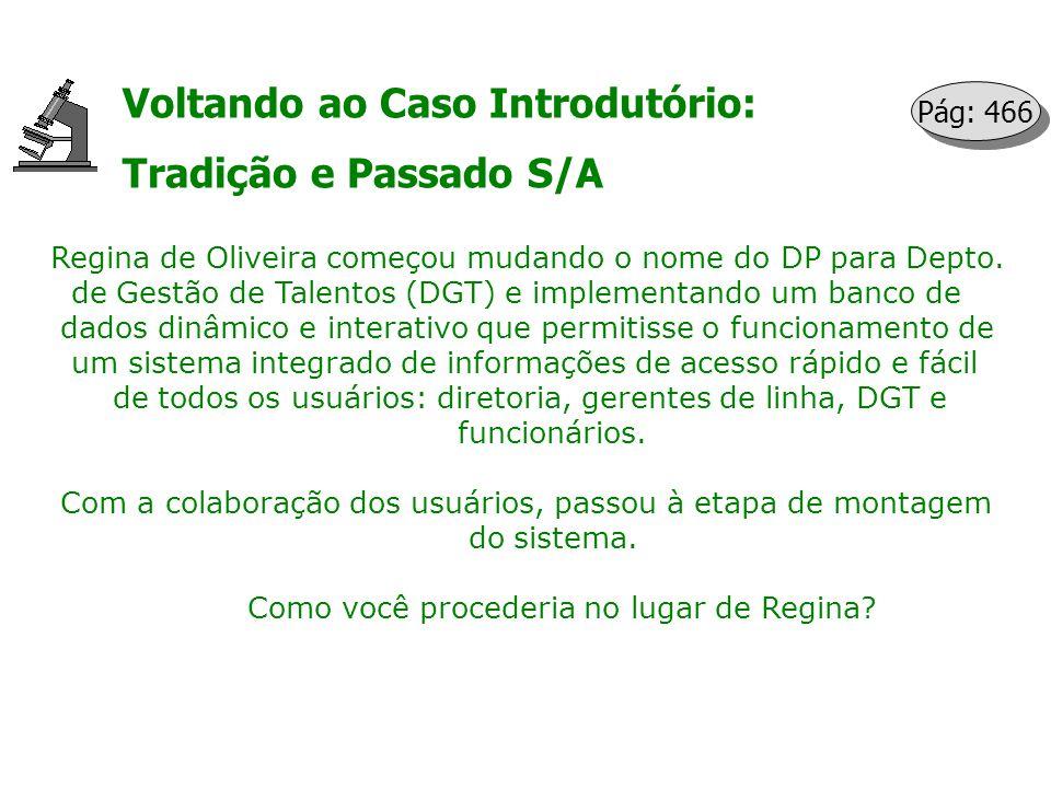 Voltando ao Caso Introdutório: Tradição e Passado S/A Regina de Oliveira começou mudando o nome do DP para Depto. de Gestão de Talentos (DGT) e implem