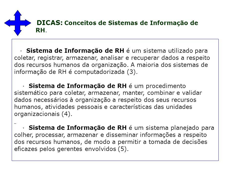 · Sistema de Informação de RH é um sistema utilizado para coletar, registrar, armazenar, analisar e recuperar dados a respeito dos recursos humanos da