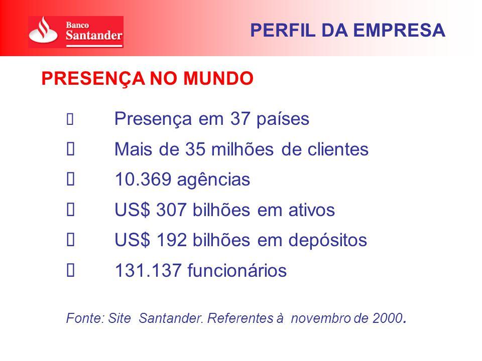 Presença em 37 países Mais de 35 milhões de clientes 10.369 agências US$ 307 bilhões em ativos US$ 192 bilhões em depósitos 131.137 funcionários Fonte: Site Santander.