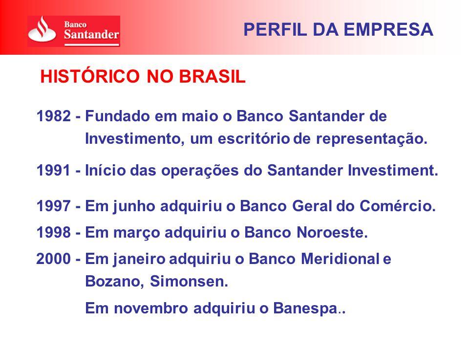 1982 - Fundado em maio o Banco Santander de Investimento, um escritório de representação. 1991 - Início das operações do Santander Investiment. 1997 -