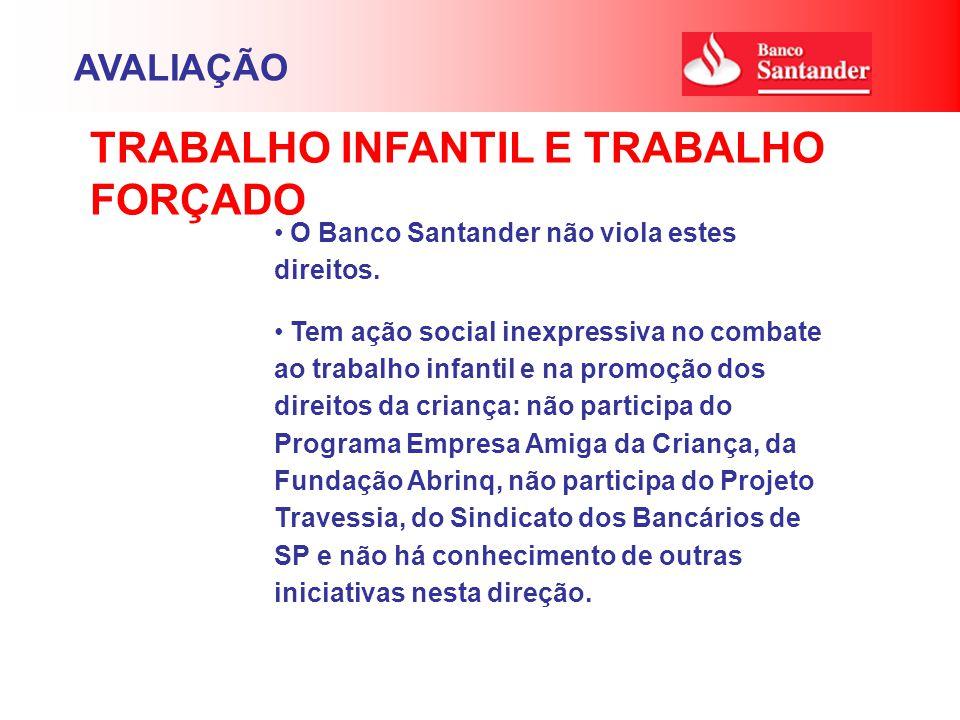 O Banco Santander não viola estes direitos. Tem ação social inexpressiva no combate ao trabalho infantil e na promoção dos direitos da criança: não pa