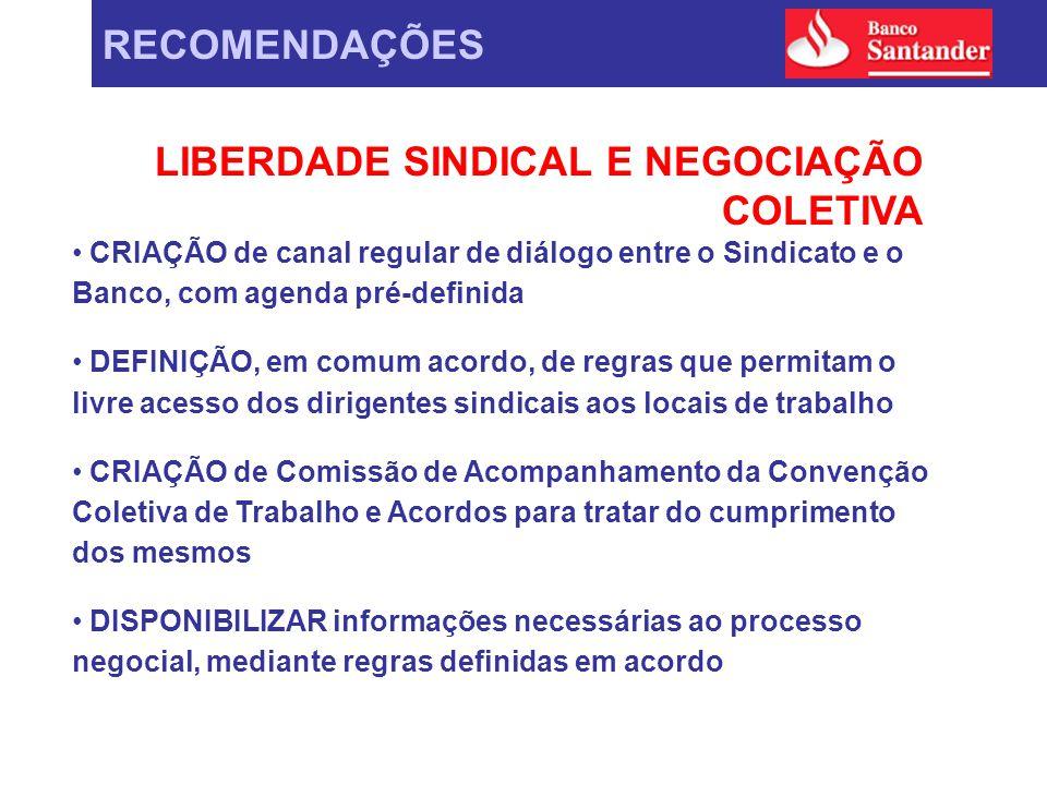 RECOMENDAÇÕES LIBERDADE SINDICAL E NEGOCIAÇÃO COLETIVA CRIAÇÃO de canal regular de diálogo entre o Sindicato e o Banco, com agenda pré-definida DEFINI