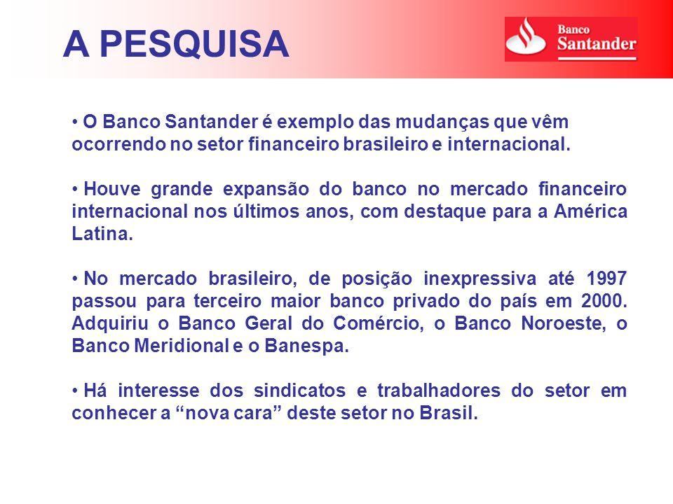 O Banco Santander é exemplo das mudanças que vêm ocorrendo no setor financeiro brasileiro e internacional. Houve grande expansão do banco no mercado f