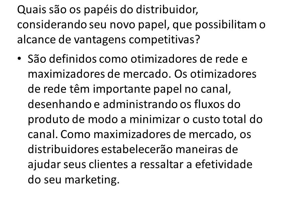 Quais são os papéis do distribuidor, considerando seu novo papel, que possibilitam o alcance de vantagens competitivas.