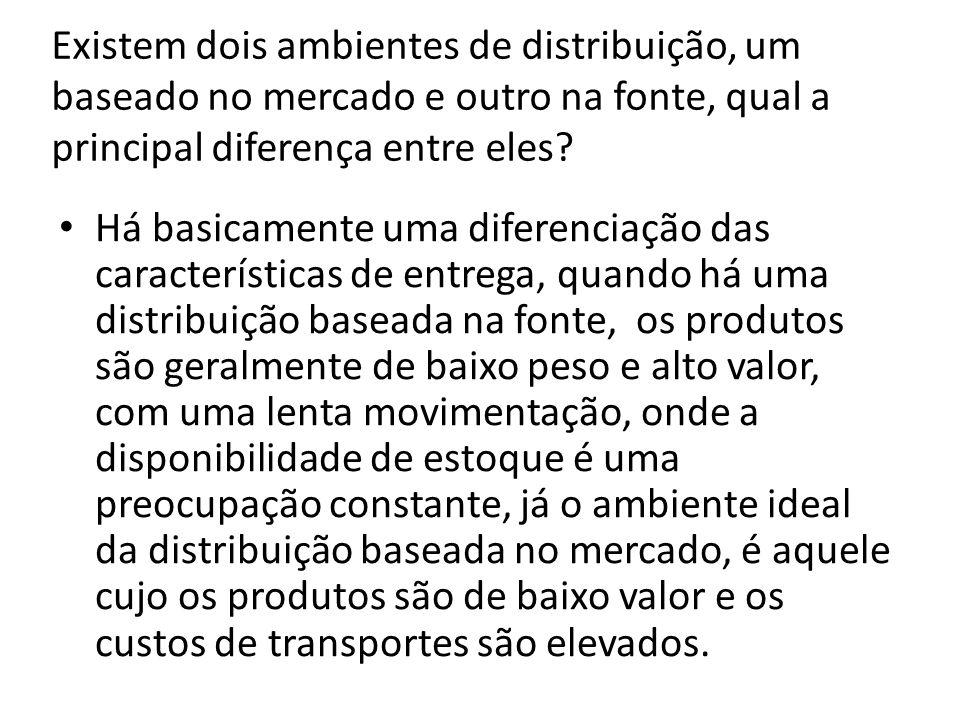 Existem dois ambientes de distribuição, um baseado no mercado e outro na fonte, qual a principal diferença entre eles.