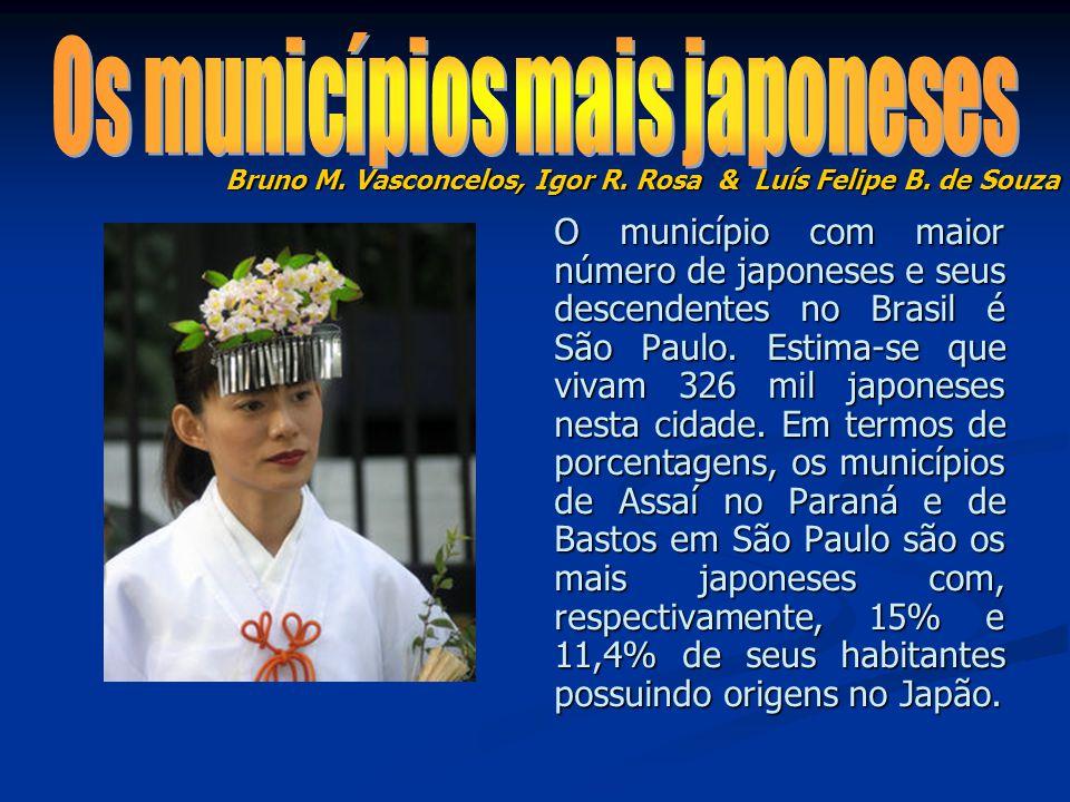 O município com maior número de japoneses e seus descendentes no Brasil é São Paulo. Estima-se que vivam 326 mil japoneses nesta cidade. Em termos de