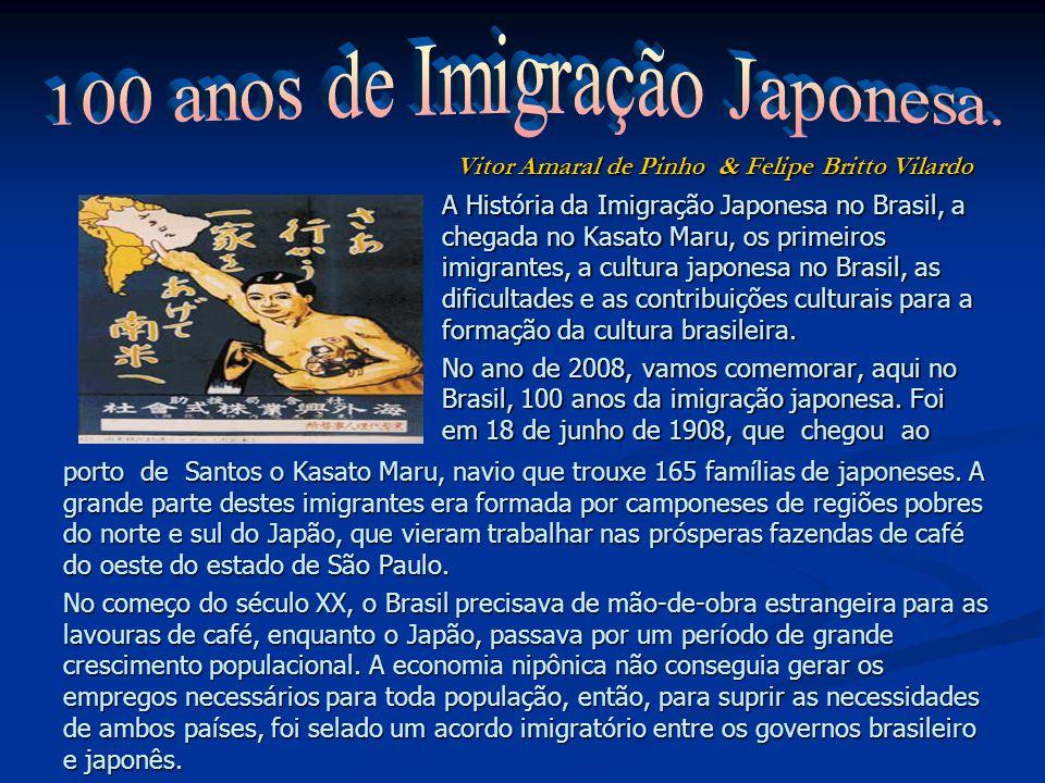 A História da Imigração Japonesa no Brasil, a chegada no Kasato Maru, os primeiros imigrantes, a cultura japonesa no Brasil, as dificultades e as contribuições culturais para a formação da cultura brasileira.