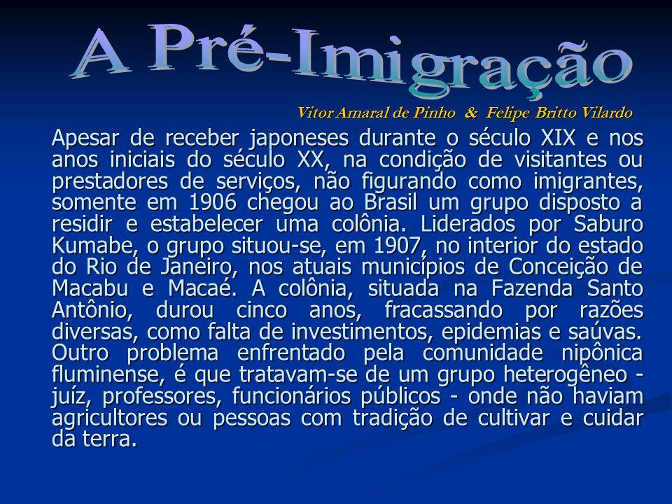 Apesar de receber japoneses durante o século XIX e nos anos iniciais do século XX, na condição de visitantes ou prestadores de serviços, não figurando como imigrantes, somente em 1906 chegou ao Brasil um grupo disposto a residir e estabelecer uma colônia.