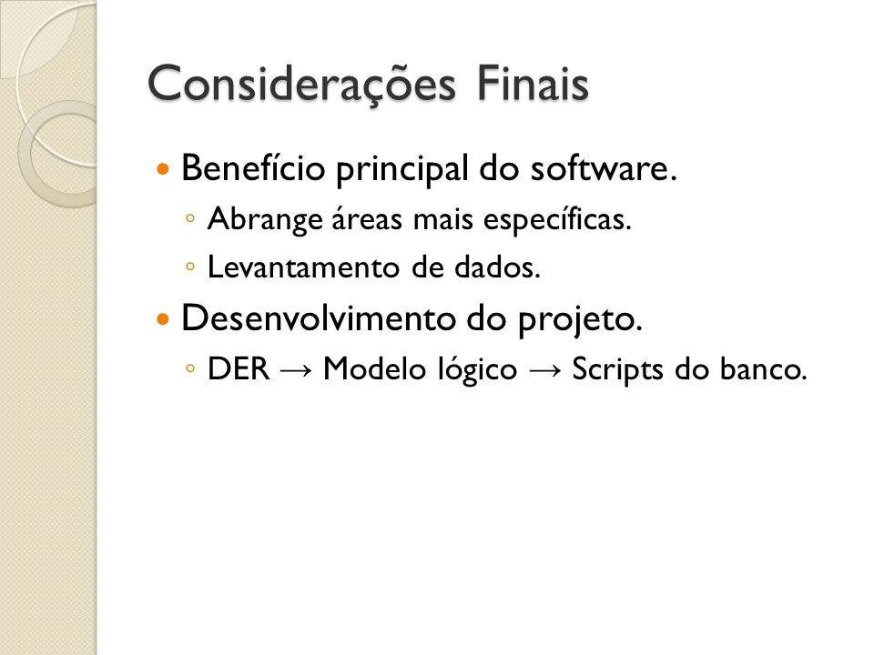 Considerações Finais Benefício principal do software. Abrange áreas mais específicas. Levantamento de dados. Desenvolvimento do projeto. DER Modelo ló