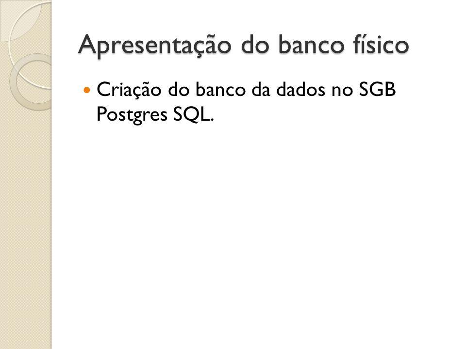 Apresentação do banco físico Criação do banco da dados no SGB Postgres SQL.