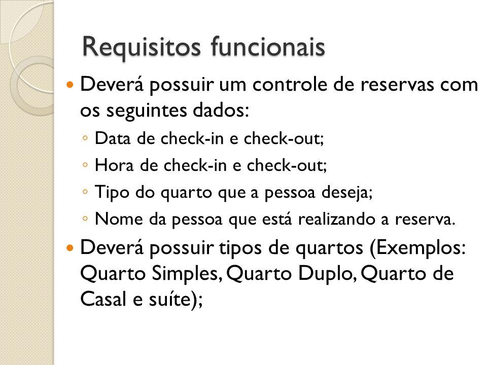 Requisitos funcionais Deverá possuir um controle de reservas com os seguintes dados: Data de check-in e check-out; Hora de check-in e check-out; Tipo