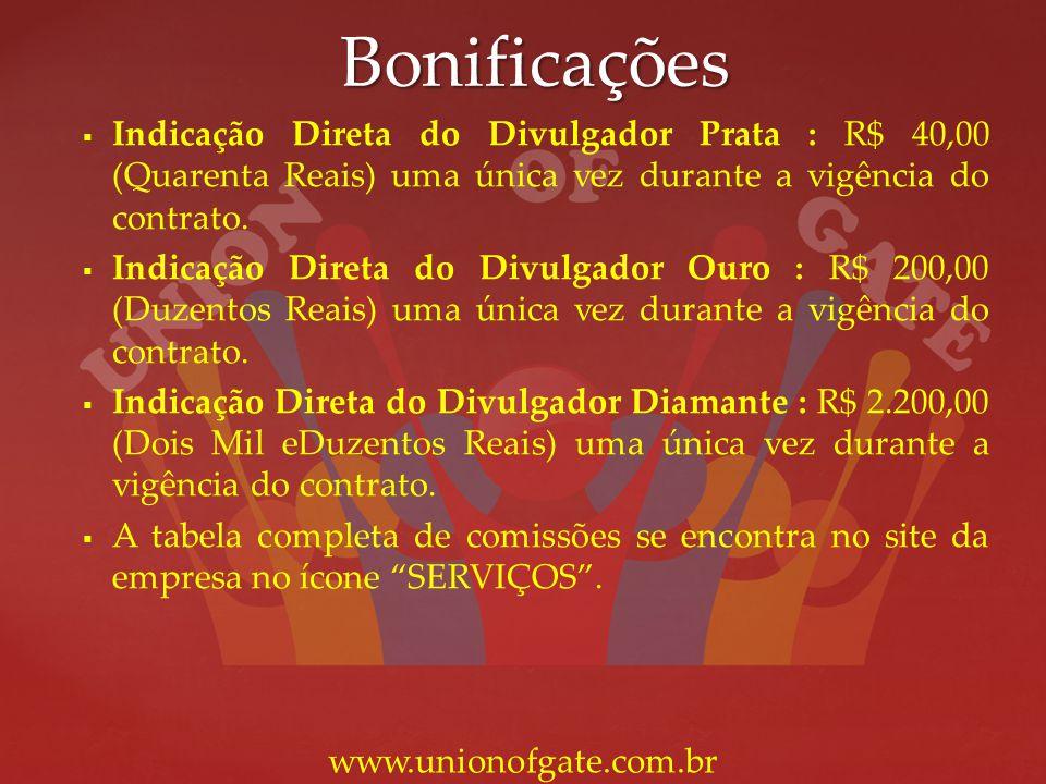 Bonificações Indicação Direta do Divulgador Prata : R$ 40,00 (Quarenta Reais) uma única vez durante a vigência do contrato. Indicação Direta do Divulg
